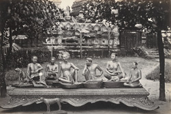 Carved wooden figures, Rangoon